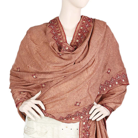 Women's Embroidered Border Chadar - Maroon