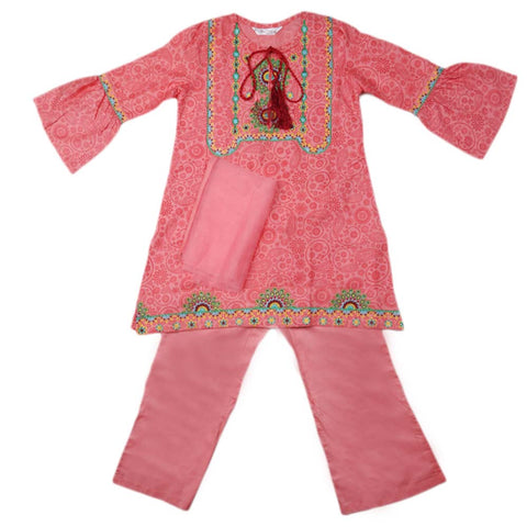 Girls Embroidered Cotton Suit 3 Pcs - Pink