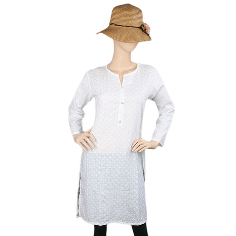 14th August Chikan Kurti For Women's - White - test-store-for-chase-value