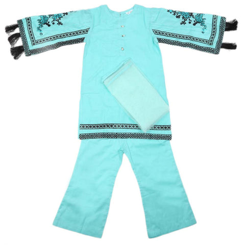 Girls Embroidered Cotton Suit 3 Pcs - Cyan