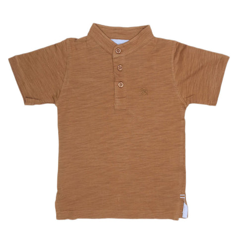 Boys Eminent Sherwani Collar T-Shirt - Brown