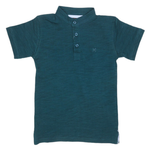 Boys Eminent Sherwani Collar T-Shirt - Green