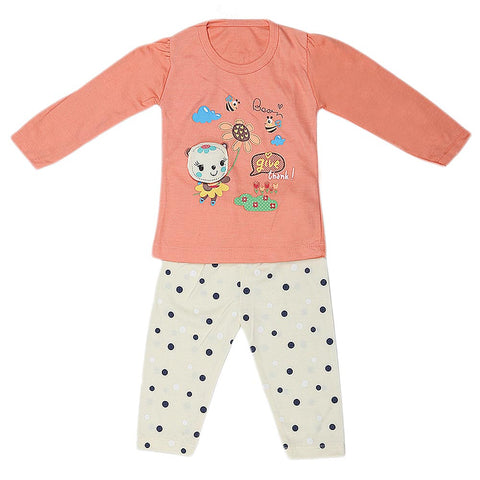 Girls Full Sleeves 2 Piece Suit - Peach