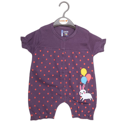 Newborn Girls Half Sleeves Romper - Purple - test-store-for-chase-value