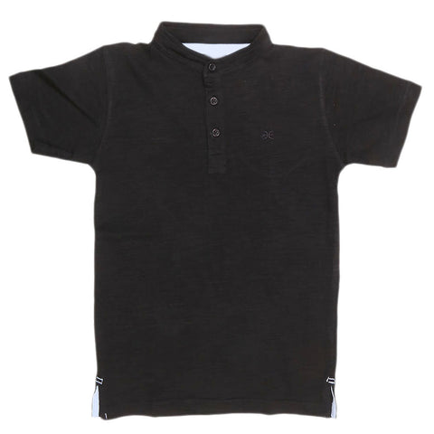 Boys Eminent Sherwani Collar T-Shirt - Black