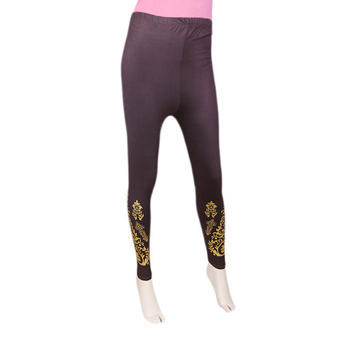 Women's Printed Tight- Brown