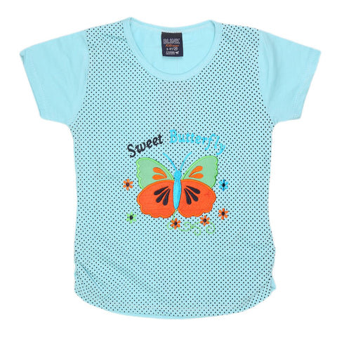 Girls Half Sleeve Embroidered T-Shirt - Cyan