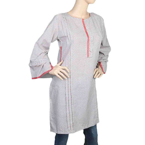 Women's Cotton Plain Kurti - Grey