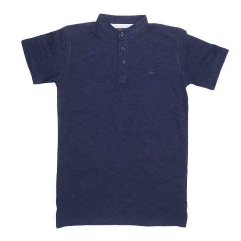 Boys Eminent Sherwani Collar T-Shirt - Navy Blue