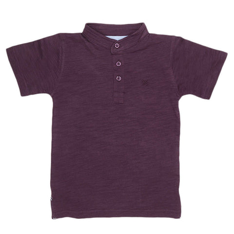 Boys Eminent Sherwani Collar T-Shirt - Purple