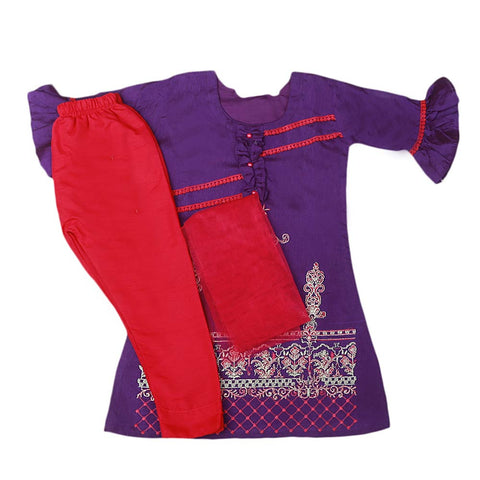 Girls Embroidered Masuri Suit 3 Pcs - Purple