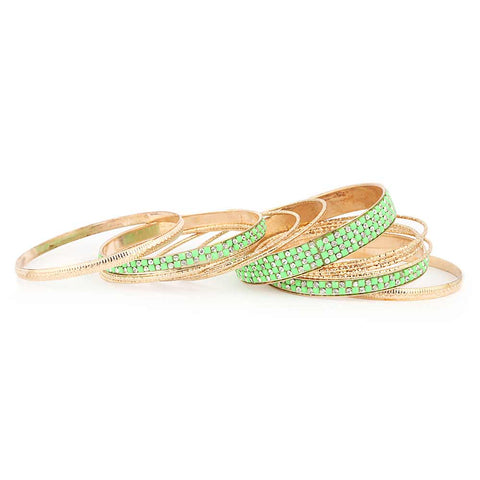 Women's Fancy Bangles 13 Pcs - Green - test-store-for-chase-value