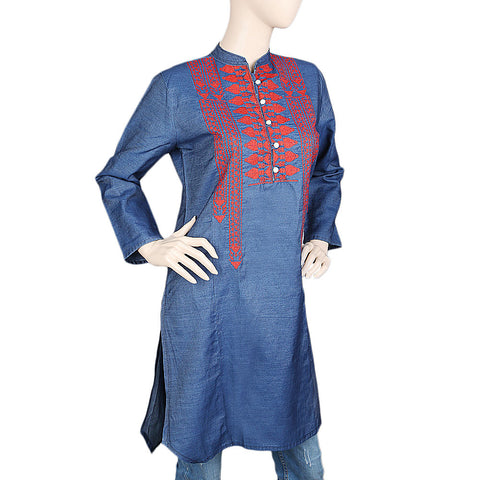 Women's Embroidered Denim Kurti - Blue