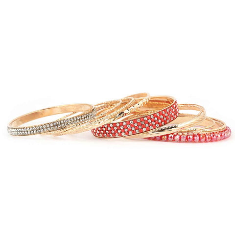 Women's Fancy Bangles 11 Pcs - Red - test-store-for-chase-value