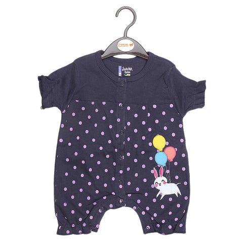 Newborn Girls Half Sleeves Romper - Navy Blue - test-store-for-chase-value