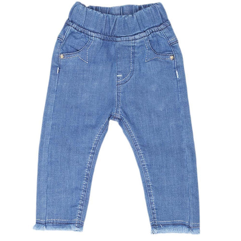 Newborn Girl's Denim Pant - Blue