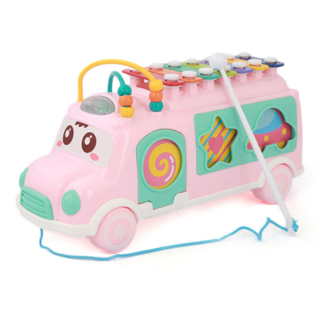 Happy Colorful Bus With Musical Instrument - Pink