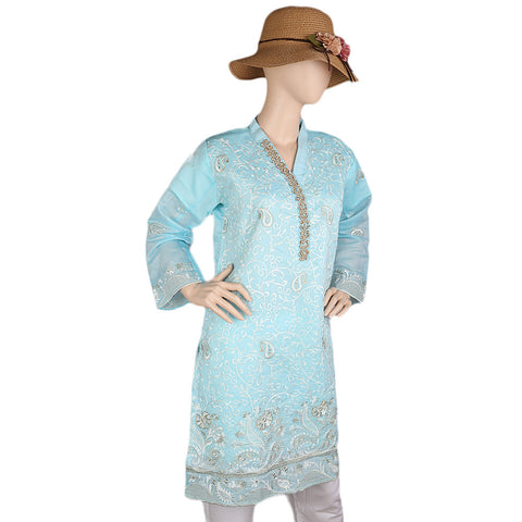 Women's Fancy Embroidered Kurti - Blue