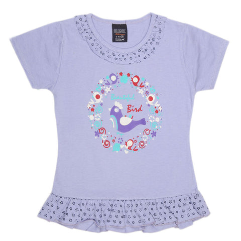 Girls Half Sleeve Printed T-Shirt - Purple