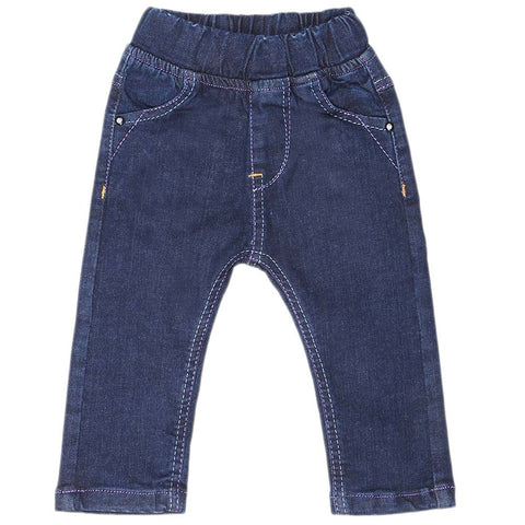 Newborn Girl's Denim Pant - Dark Blue