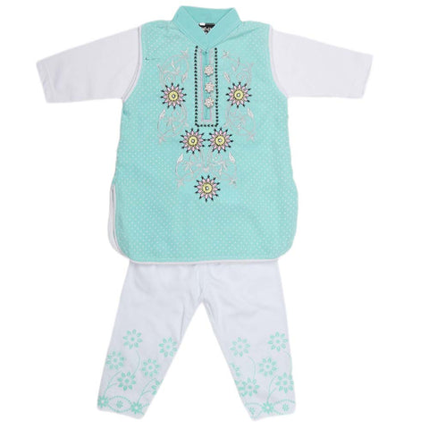 Girls Embroidered Cotton Suit 2 Pcs - Cyan