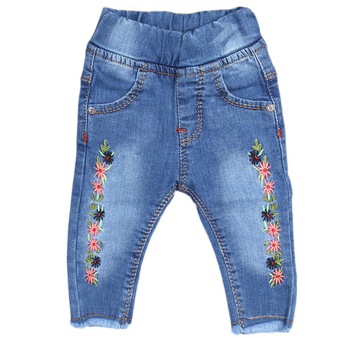 Newborn Girls Denim Embroidery Pant - Light Blue