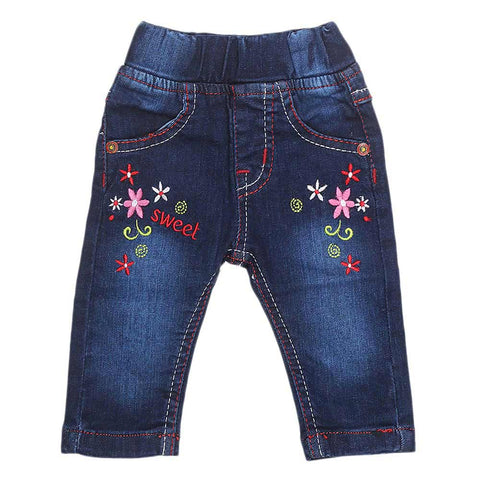 Newborn Girls Denim Pant - Dark Blue - test-store-for-chase-value