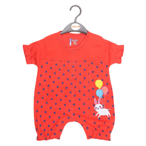 Newborn Girls Half Sleeves Romper - Red - test-store-for-chase-value
