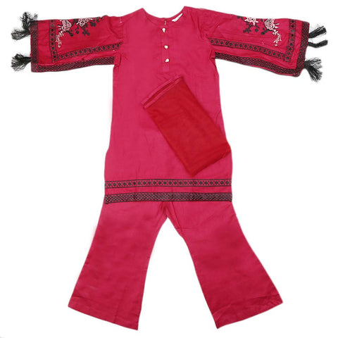 Girls Embroidered Cotton Suit 3 Pcs - Maroon