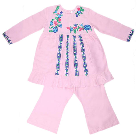 Girls Embroidered Cotton Suit 2 Pcs - Pink