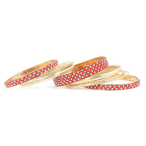Women's Fancy Bangles 13 Pcs - Red - test-store-for-chase-value