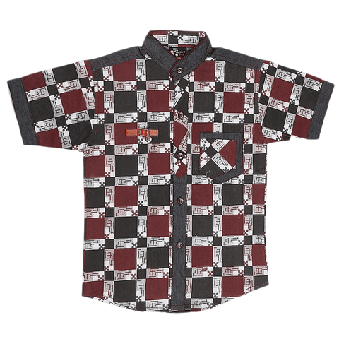 Boys Casual Shirt - Maroon - test-store-for-chase-value