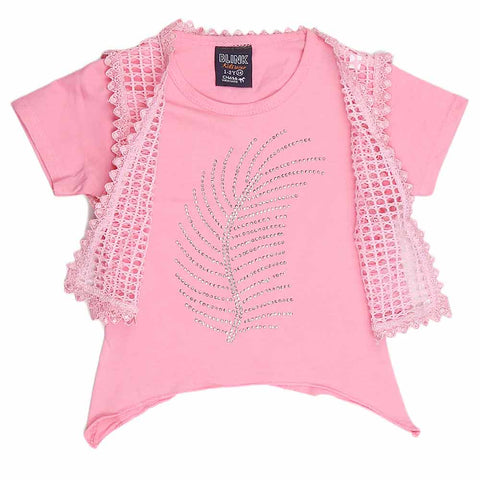 Girls Half Sleeve Fancy T-Shirt 2 Pcs - Pink