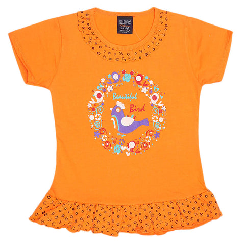 Girls Half Sleeve Printed T-Shirt - Orange