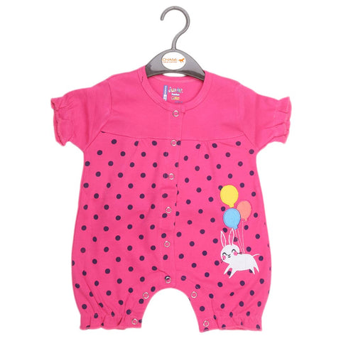 Newborn Girls Half Sleeves Romper - Pink - test-store-for-chase-value