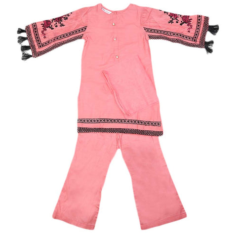Girls Embroidered Cotton Suit 3 Pcs - Peach