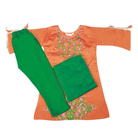 Girls Embroidered Masuri Suit 3 Pcs - Orange