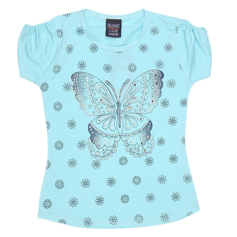 Girls Half Sleeve Fancy T-Shirt - Cyan