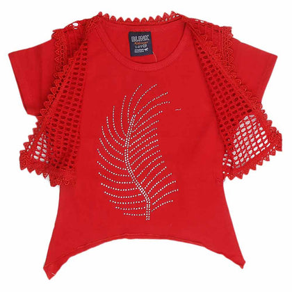 Girls Half Sleeve Fancy T-Shirt 2 Pcs - Red