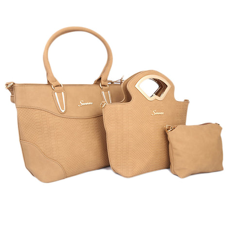 Ladies HandBag 3Pc 9724 - APRICOT