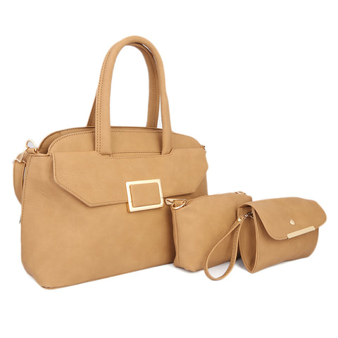 Ladies HandBag 3Pc 8838 - APRICOT
