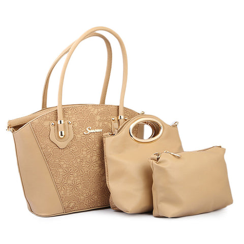 Women's Handbag 3 Piece - Apricot
