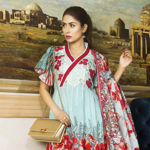 Libas Embroidered Printed Lawn 3 Piece Un-Stitched Suit Vol 1 - B2