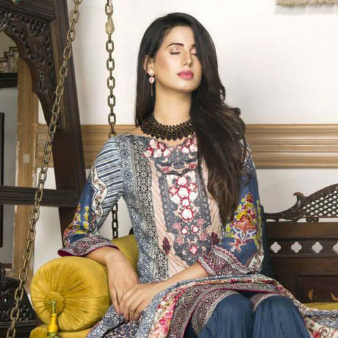 Libas Embroidered Printed Lawn 3 Piece Un-Stitched Suit Vol 1 - B6