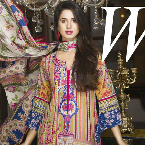 Libas Embroidered Printed Lawn 3 Piece Un-Stitched Suit Vol 1 - B8