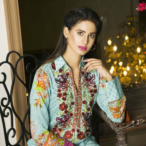 Libas Embroidered Printed Lawn 3 Piece Un-Stitched Suit Vol 1 - B9