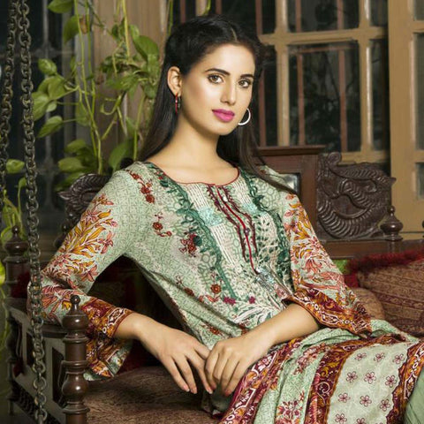 Libas Embroidered Printed Lawn 3 Piece Un-Stitched Suit Vol 1 - B10