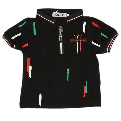 Boys Half Sleeves Polo T-Shirt - Black