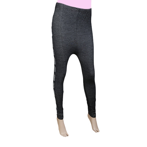 Women's Side Print Denim Tight - Black