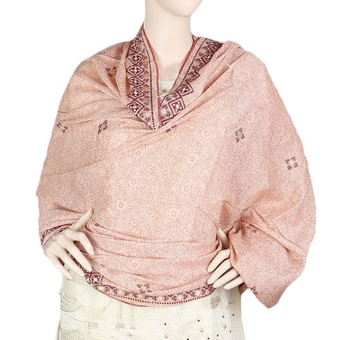 Women's Embroidered Border Chadar - Peach